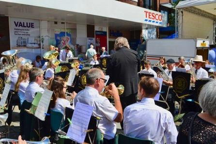 The Egham Band Playing A Selection Of Music.
