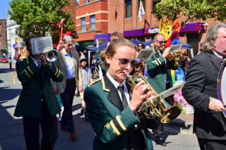 Egham Band Parading Along To The Main Stage.